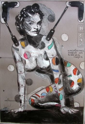 Peter SENGL - Drawing-Watercolor - Helena Christensen farbig einkreisen