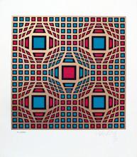 维克多•瓦沙雷利 - 版画 - Composition cinétique en rouge et vert