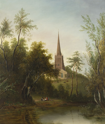 Sarah FERNELEY - Gemälde - Figures by a Pond, with Cattle and a Church beyond