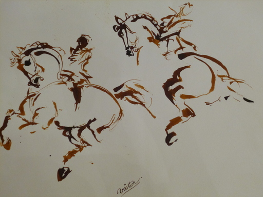 VICTOR - Drawing-Watercolor - 2 cavaliers