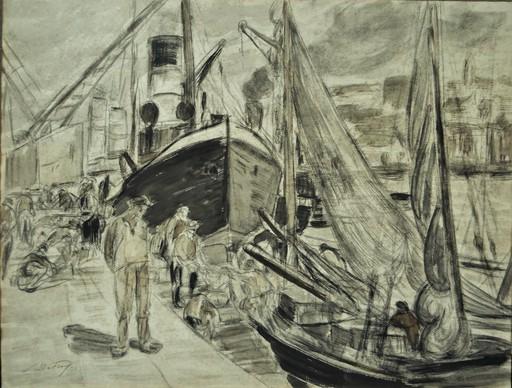 Léon DETROY - Disegno Acquarello - Scène de port animée