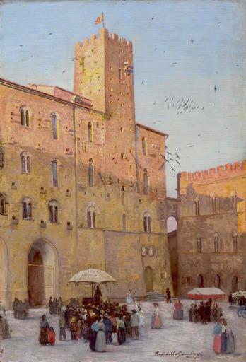 Raffaello GAMBOGI - Pittura - Piazza dei Priori a Volterra