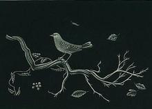 Kiyoshi HASEGAWA - Estampe-Multiple - Oiseau sur racine