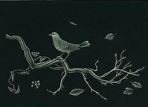 Kiyoshi HASEGAWA - Grabado - Oiseau sur racine
