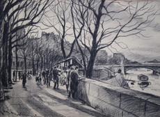 Eric MÉNÉTRIER - Dessin-Aquarelle - Sur les quais à Paris