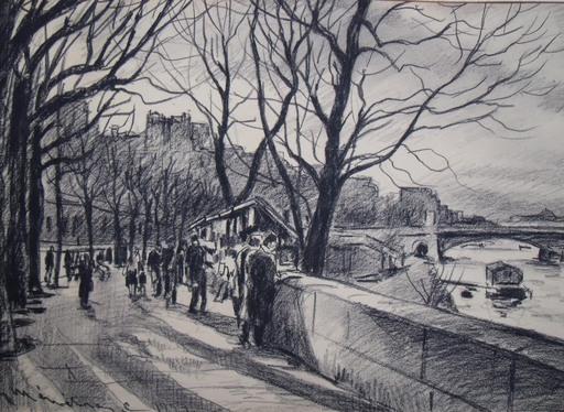 Eric MÉNÉTRIER - Drawing-Watercolor - Sur les quais à Paris
