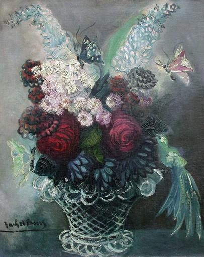 Rachel BAES - Painting - Bouquet aux papillons