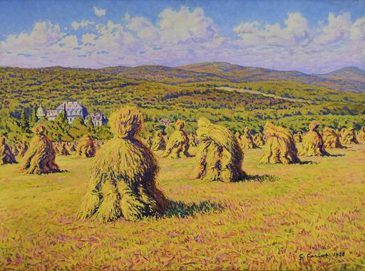 Gustave CARIOT - Peinture - Paysage aux Bottes de Blé devant le Château de Georgenborn
