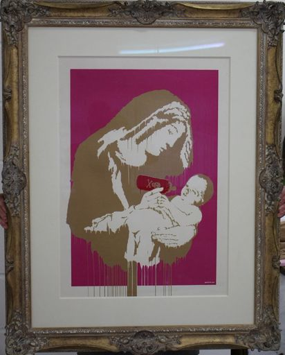 BANKSY - Painting - Toxic Mary Colourway (Gold & Pink) signed