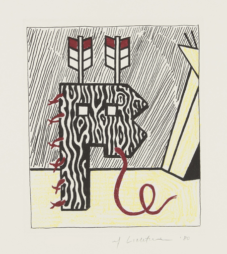 Roy LICHTENSTEIN - Stampa-Multiplo - Figure with Teepee, from American Indian Theme