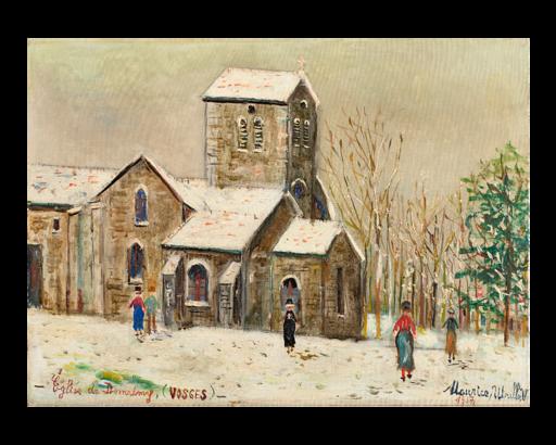 Maurice UTRILLO - Peinture - L`église de Domrémy