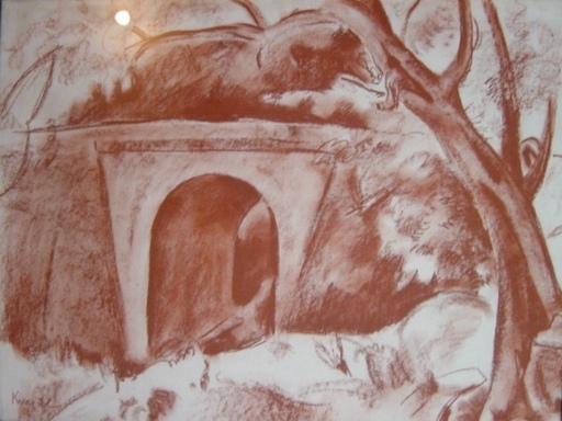 Charles KVAPIL - Dessin-Aquarelle - Landscape with a Bridge