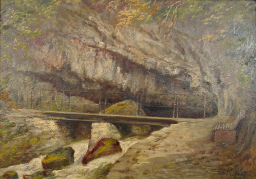 Rudolf WEISS - Painting - Die Twannbachgrotte am Bielersee