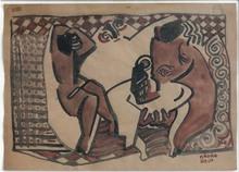 Béla KADAR - Dibujo Acuarela - Interieur mit Figuren