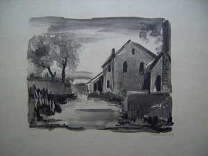 莫里斯•德•弗拉芒克 - 版画 - Nelle-la-Vallée, Maisons rustiques