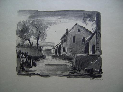 Maurice DE VLAMINCK - Estampe-Multiple - Nelle-la-Vallée, Maisons rustiques
