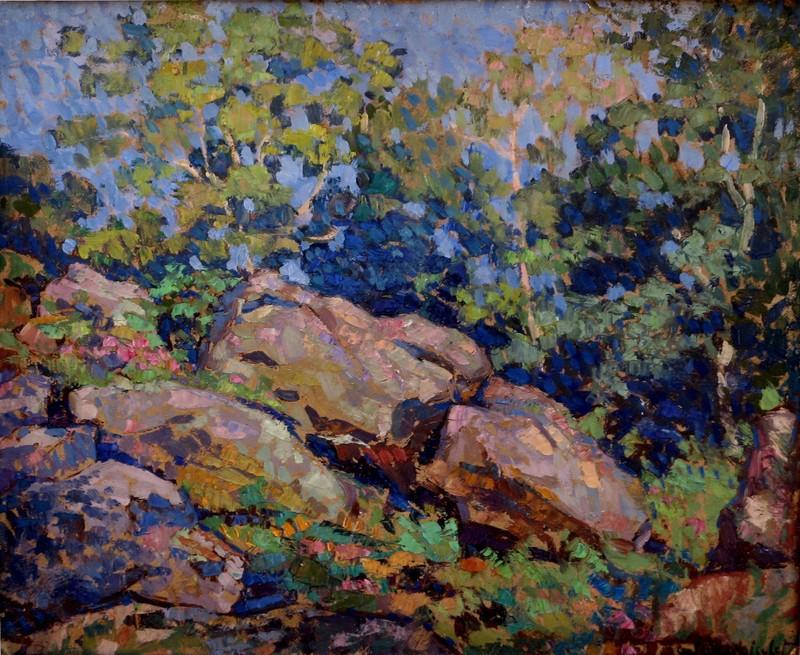 """Gabriel MOISELET - Painting - """"ROCHERS A FONTAINEBLEAU 1926"""""""