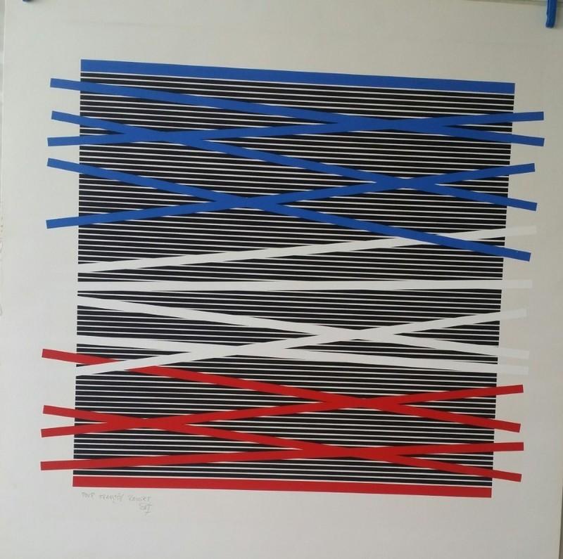 Jesús Rafael SOTO - Estampe-Multiple - RYTHME CINETIQUE BLEU BLANC ROUGE