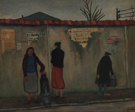 Marcel COMBOT - Pittura - Rue animée