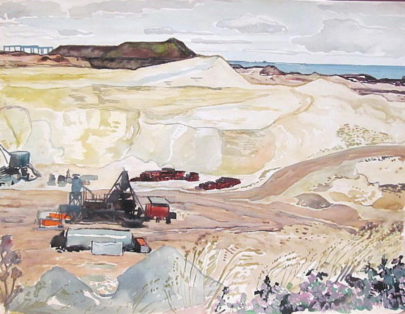 Paul MECHLEN - Drawing-Watercolor - Bauarbeiten in den Dünen auf Sylt.