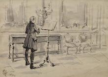 "Robert HEINRICH - Dibujo Acuarela - ""Mozart"" by Robert Heinrich (1864-1950)"