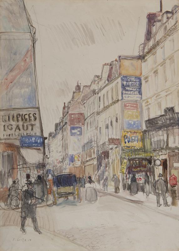 Raoul DUFY - Disegno Acquarello - La rue Vieille du Temple à Paris