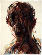 Max UHLIG - Drawing-Watercolor - Männerkopf 'Selbst'
