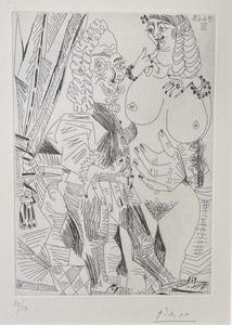 """Pablo PICASSO - Print-Multiple - """"Grosse Courtisane et Vieux Beau"""""""