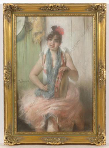 "Angelo TRENTIN - Dibujo Acuarela - ""Italian girl with tamburine"", pastel"