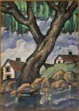 Hugo SCHEIBER - Painting - Landscape with Trees and Houses