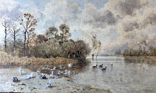 Eugène CICÉRI - 水彩作品 - Bord de rivière