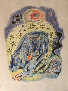 André MASSON - Estampe-Multiple - Couple aux étoiles