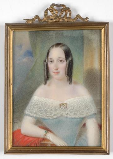 "Franz MASCHEK - Miniature - ""Portrait of a Lady"", 1845, Miniature"