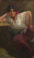 Ulpiano CHECA Y SANZ - Painting - Gitane - cantaora -  flamenco - Gitana -