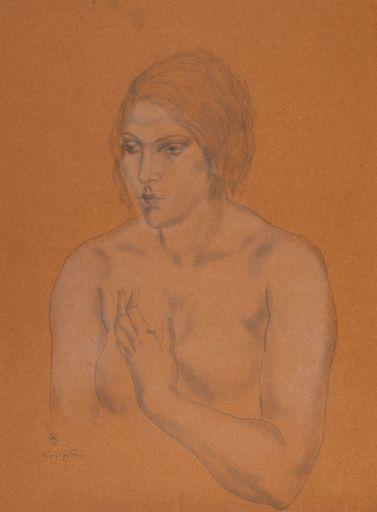 Tsuguharu FOUJITA - Drawing-Watercolor - Femme en buste
