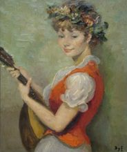Marcel DYF - Painting - Girl with Lute