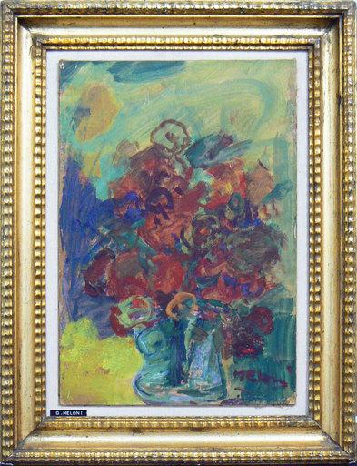 Gino MELONI - Painting - Fiori e volto di donna