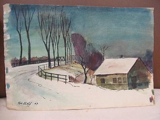 Walter KOHLHOFF - Disegno Acquarello - Haus im Schnee