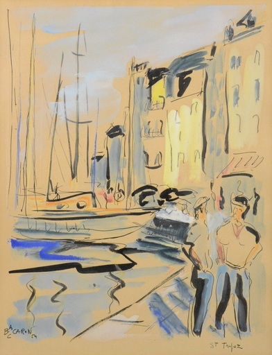 Bob CARON - Dibujo Acuarela - Saint Tropez