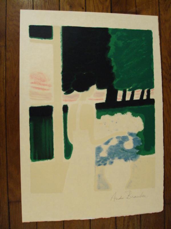 """André BRASILIER - Grabado - """"Fenétre sur le parc""""1973."""