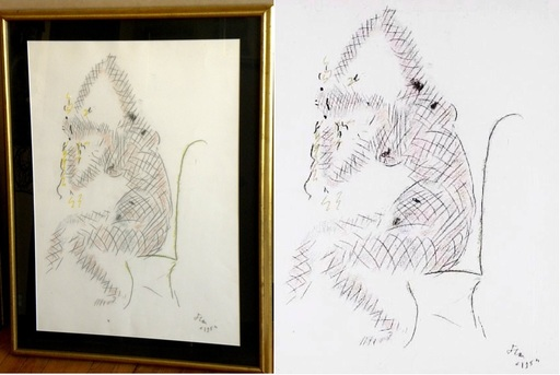 Jean COCTEAU - Drawing-Watercolor - Arlequine