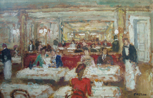 Marcel COSSON - Painting - At the Cafe