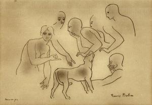 Francis PICABIA - Dessin-Aquarelle - la riunione