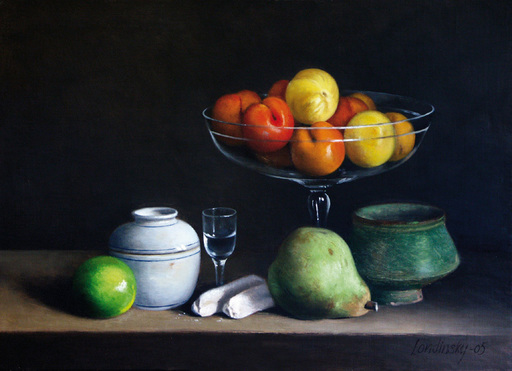Bernard LONDINSKY - Pintura - Coupe de prunes et biscuits au petit verre de Marc