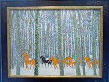 安德烈·布拉吉利 - 绘画 - Horses in the Snow