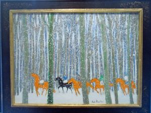 André BRASILIER - Pintura - Horses in the Snow