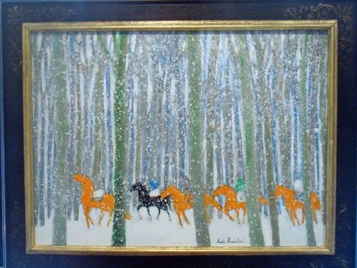 André BRASILIER - Peinture - Horses in the Snow