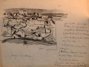 """Ignacio GARCIA ERGÜIN - Dibujo Acuarela - """"Campo de criptana"""""""