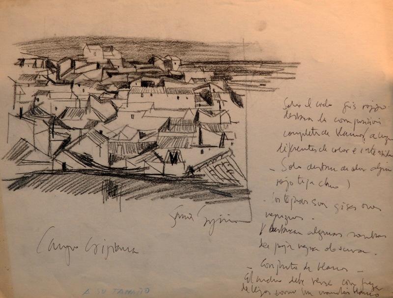 """Ignacio GARCIA ERGÜIN - Drawing-Watercolor - """"Campo de criptana"""""""