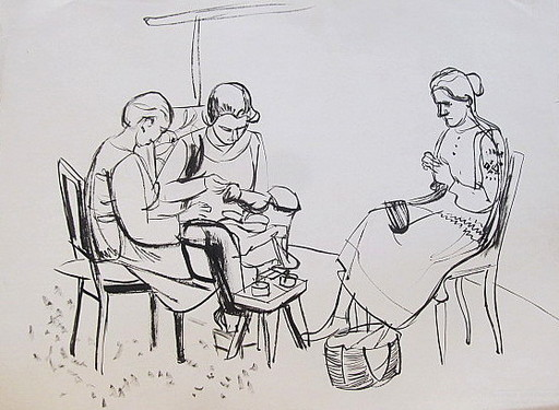 Erich HARTMANN - Dessin-Aquarelle - #19927: 3 Frauen bei der Handarbeit.